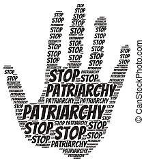 Stop patriarchy feminist concept word cloud on white