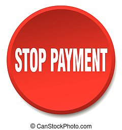 stop payment red round flat isolated push button
