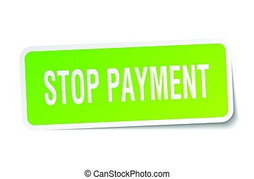stop payment square sticker on white