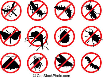 Pests vector silhouettes isolated. Insect reppelent emblem