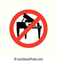Stop piano. Red prohibitory road sign. Ban Music Vector illustration