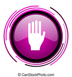 Stop pink glossy web icon isolated on white background
