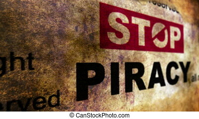 Stop piracy grunge concept