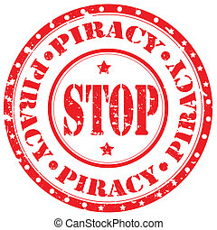 Stop Piracy-stamp - Grunge rubber stamp with text Stop...