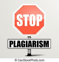 Stop Plagiarism - detailed illustration of a red stop...