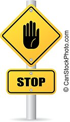 Stop pole road sign