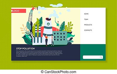 Stop pollution ecology web site template plant emissions -...