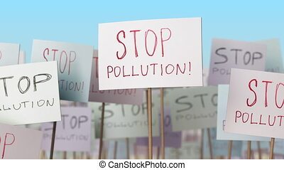 STOP POLLUTION placards at street demonstration. Conceptual loopable animation
