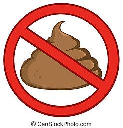 Stop Poop Sign Cartoon Character