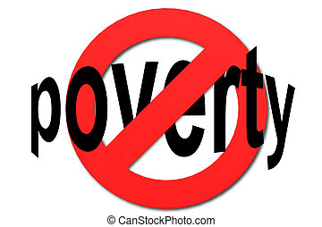 Stop poverty sign in red