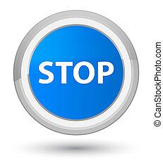 Stop prime cyan blue round button