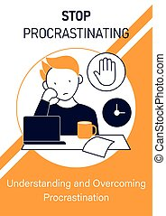 Stop procrastinating brochure.Ready to work. Minimize distractions template. Flyer, magazine, poster, book cover, booklet.Procrastination infographic concept.Layout illustration page with icon