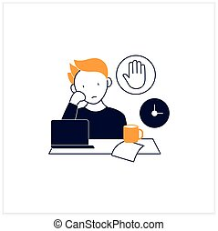 Stop procrastinating flat icon.Ready to work. Minimize distractions. Commit tasks.Procrastination concept. Vector illustration