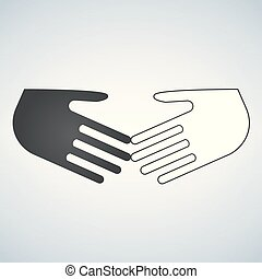 Stop racism flat icon. Black and white shaking hands. Friendship, global international business shake hand. Vector illustration isolated on a background. No to racism.