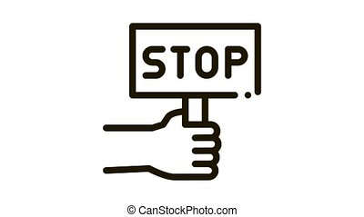 stop racism nameplate Icon Animation. black stop racism nameplate animated icon on white background