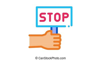 stop racism nameplate Icon Animation