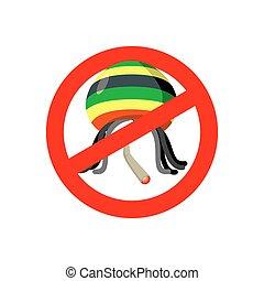 Stop Rastaman. Prohibited Stoned drug man. Dangers red sign rasta hat and joint or spliff. Crossed-marijuana drug. Ban reggae Rastafarian