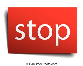 stop red paper sign isolated on white