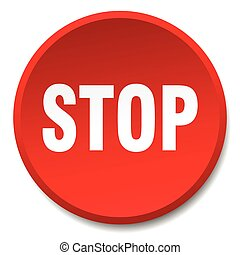 stop red round flat isolated push button