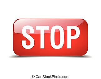 stop red square 3d realistic isolated web button