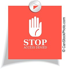 Stop red sticker isolated on white background