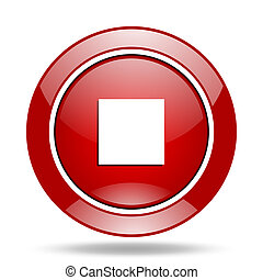 stop red web glossy round icon