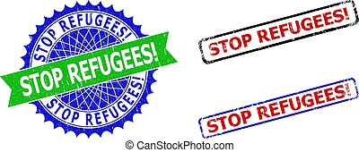 STOP REFUGEES! Rosette and Rectangle Bicolor Stamp Seals with Grunged Styles