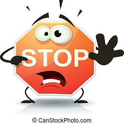 Stop Road Sign Icon Character - Illustration of a funny...