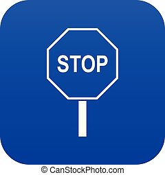 Stop road sign icon digital blue