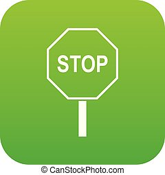 Stop road sign icon digital green