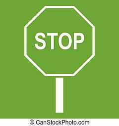 Stop road sign icon green