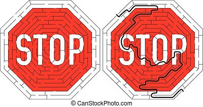 Stop road sign maze