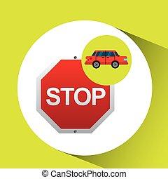 stop road sign sedan red