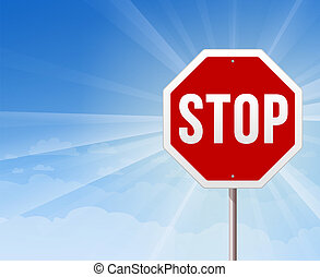 Stop Roadsign on Blue Sky Backgroun