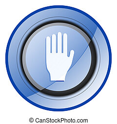 Stop round blue glossy web design icon isolated on white background