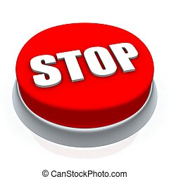 Stop round button 3d. Isolated on white.