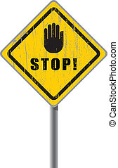 Stop scratched road sign.