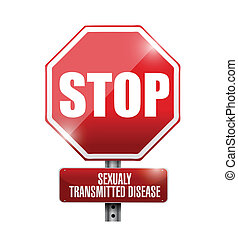 stop sexualy transmitted diseases road sign illustrations...