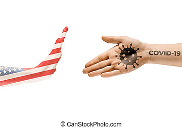 Stop shaking hands. Human hands colored in flag of USA and coronavirus - concept of spreading of virus