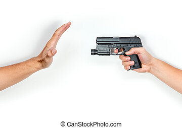 stop shooting, killing people isolated on white