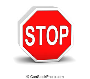 3D stop sign in a white background
