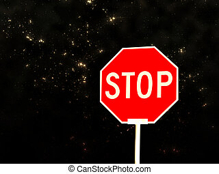 Stop sign against night sky
