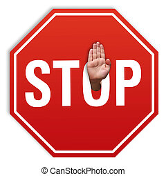 Stop sign againts. Stop hand consept.