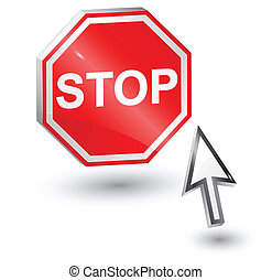 Stop sign and computer arrow mouse.