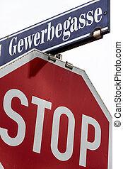 stop sign and gewerbegasse
