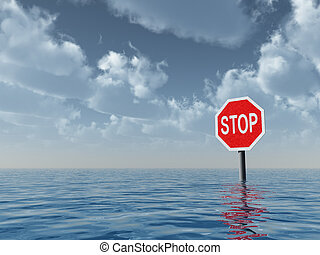 stop sign at water landscape - 3d illustration