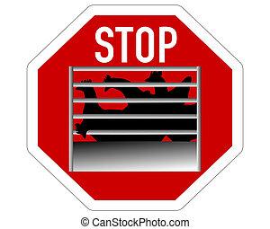 Stop sign caging of hen