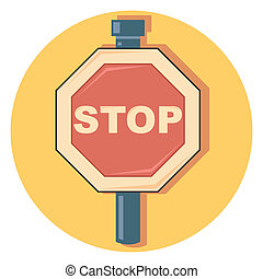 stop sign circle icon with shadow