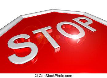 Stop sign closeup - Closeup of metallic 3D stop sign