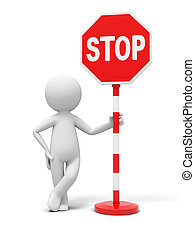 stop sign - A 3D people with a stop sign